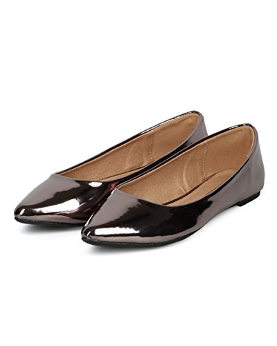 Balletto Donna A Punta Tinta Piatta - Specchio Metallico Piatto - Casual Dressy Versatile On The Go Flat - Hc11 Di Mark Maddux Collection In Peltro Metallic