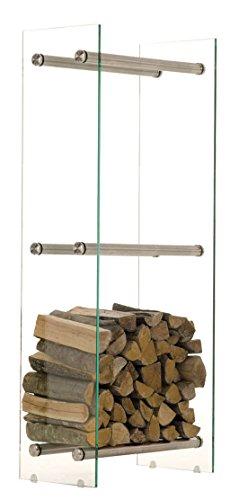 CLP Edelstahl Kaminholz-Ständer DACIO, klarglas, 12 mm Sicherheitsglas, bis zu 21 Größen wählbar 35 x 35 x 160 cm (T x B x H)