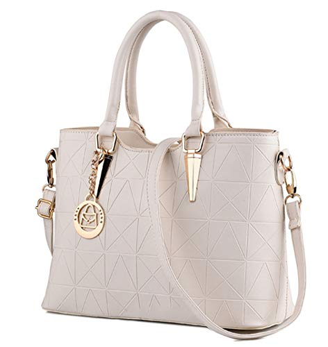 (JHVYF Casual Top Handle Handbag Purse Tote Pu Leather Shoulder Bags Women #U Beige)