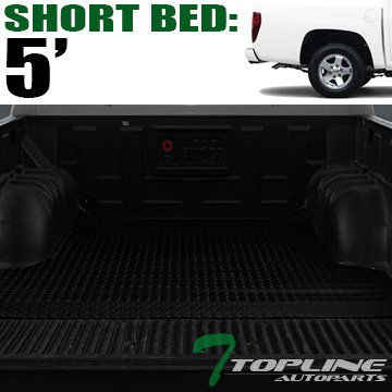 Topline Autopart Black Rubber Diamond Plate Truck Bed Cargo Box Floor Mat Carpet 04-12 Chevy Colorado / GMC Canyon 5 Ft 60