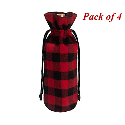 EDLDECCO Rustic Plaid Wine Bags with Drawstring Red and Black Buffalo Check Wine Bottle Covers-Pack of 4