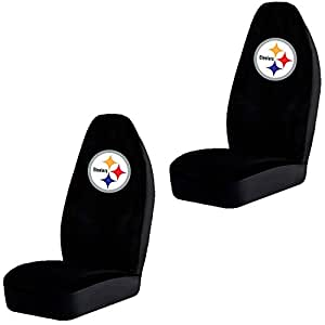 set of 2 nfl licensed universal fit front bucket seat cover pittsburgh steelers accessories. Black Bedroom Furniture Sets. Home Design Ideas