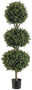 Silk Decor 4-Feet Tri Ball Boxwood Topiary Plant, Green/Two-tone