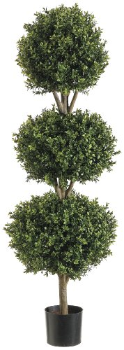 Silk Decor 4-Feet Tri Ball Boxwood Topiary Plant, Green/Two-tone (Flower Silk Topiary)