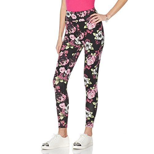 Diane Gilman DG LUXSPORT Comfort Waist Legging Prints Knit Black Pink Floral XS New 521-406 (Gilman Diane Print)