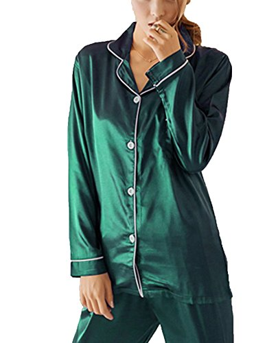 SWOMOG Womens Silk Satin Pajamas Long Sleeve Loungewear Two-Piece Sleepwear Button-Down PJ Set (Pj Sleep)