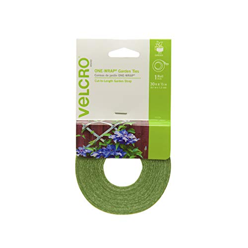 VELCRO Brand 90594 ONE-WRAP Garden Ties | Plant Supports for Effective Growing Strong Gardening Grips are Reusable and Adjustable | Cut-to-Length, 30ft x 1/2in Roll, Green