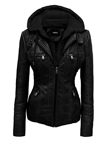 Store Cuero Desmontable Chaqueta negro Capucha Con Modelo Mujer Vegano De Para M Seitig Hoffen d6Zwqd