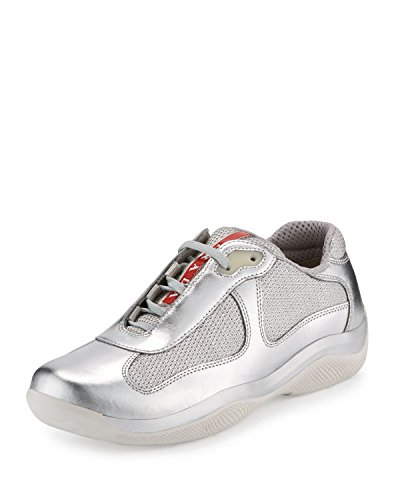 Prada Men's America's Cup Metallic Calfskin Leather Trainer Sneaker, Silver-Metallic (Argento) (10.5 US/9.5 UK) - Signature Silver Sneakers Shoes