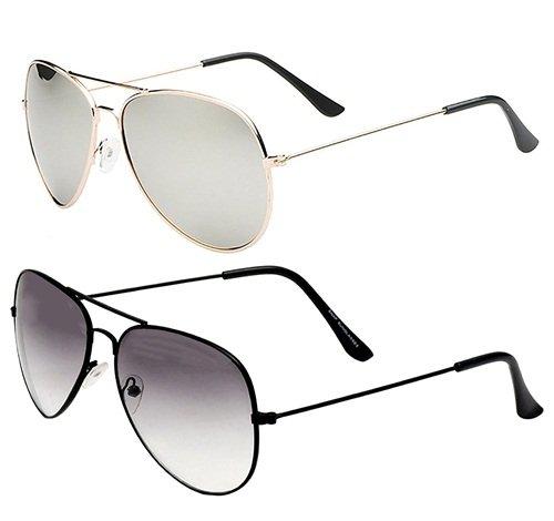 3fc236c0936dd Sheomy Unisex Combo Pack of Mirrored Aviators glasses for Men and Women - Mirrored  Sunglasses (