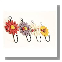 Art Flower Wall Hook Zonman Vintage Zakka Metal and Polyresin Key / Hat / Cloth / Towel Hooks Recycled Decorative Gift Idea (Sunflower Hook-4pcs)