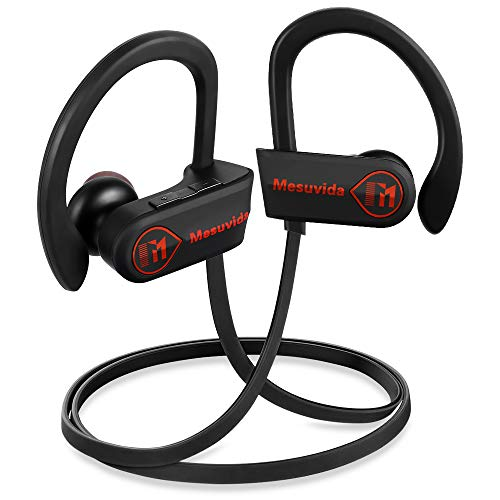 Wireless Headphones Bluetooth, Mesuvida Sports Bluetooth Earbuds Waterproof IPX7, Noise Cancelling Headsets Bluetooth 4.1 HiFi Bass Stereo Sweatproof in-Ear Earbuds Gym Running, 8 Hours Play Time