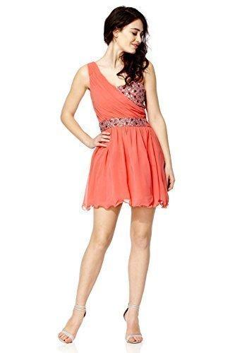 Mujer Vestido De Graduación Gema Con Lentejuelas Pedrería Vestido de fiesta - sintético, Coral,
