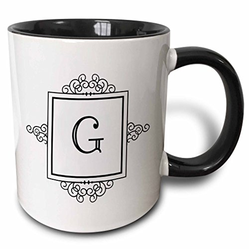 3dRose 3dRose Initial letter G personal monogrammed fancy black and white typography elegant stylish personalized - Two Tone Black Mug, 11oz (mug_154330_4), Black/White