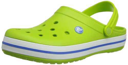 crocs Unisex Crocband Clog, Volt Green/Varsity Blue, 12 US Men / 14 US Women