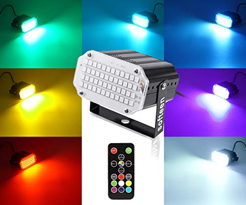 Purple Strobe Light (Mini Stage Strobe Light with 48 Super Bright Led, softeen 7 Colors Sound Activated Stage Lighting Automated Flash Mode Adjustable Flash Speed Control, Wireless Remote, Ideal for Wedding Disco)