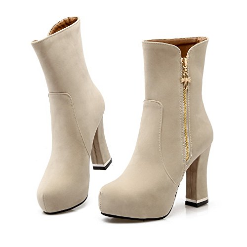 AmoonyFashion Round Toe Zipper Top Beige Women's Closed Boots Heels High Mid rwB8Yxnr