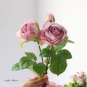 Sulin 6PCS Artificial Rose Flower 3 Heads Bouquet Fake Silk Flower for Party Home Garden Wedding,C 106