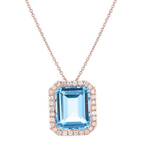 Revoni Bague en or rose 9ct-Diamant et Topaze Bleu Coupe rectangulaire-Collier Femme-Pendentif