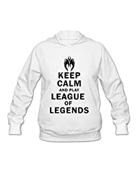 SHHY Women's Keep Calm And Play League Of Legends Long Sleeve Hoodie White