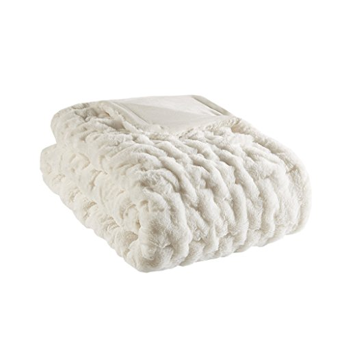 (Madison Park Ruched Fur Luxury Throw Ivory 5060    Premium Soft Cozy Brushed Long Fur For Bed, Coach or Sofa)