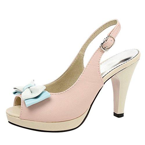 Damen Slingback High Heels Peep Toe Pumps mit Blockabsatz und Schnalle Bequeme Schuhe
