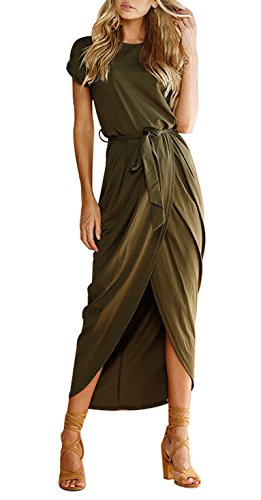 (Yidarton Women's Casual Short Sleeve Slit Solid Party Summer Long Maxi Dress (Small, A-ArmyGreen))