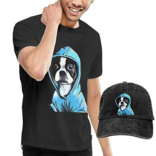 Pokuisnb Comfortable Men's T Shirt and Caps Combination Black for Travel Boston Terrier -