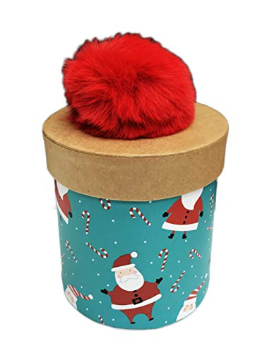 (Cute Santa Claus & Falling Candy Canes Red Fuzzy Pom Pom Embellished Small Decorative Holiday Gift Box (Cylinder))
