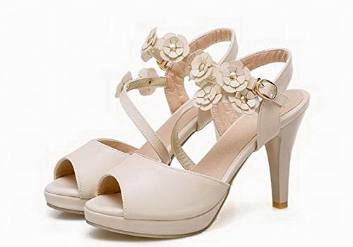 VogueZone009 Beige Women Open Toe Buckle Heels Pu High Sandals rOw8r