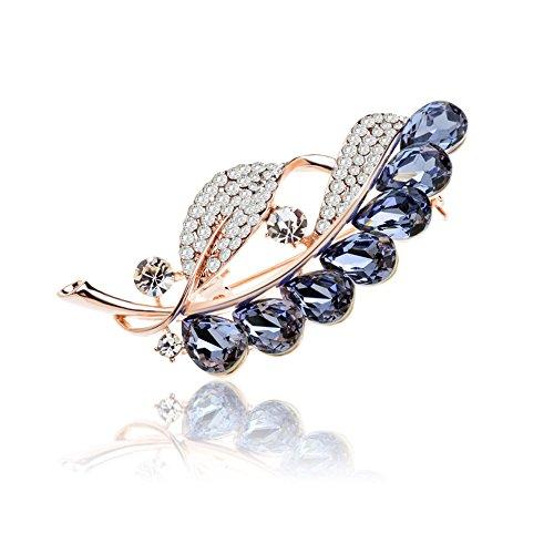 TAGOO Leaf Navy Blue Crystal Brooch Scarf Pin Clip, Gold Plated Corsage for Women & - Brooch Rhinestone Leaf Pin