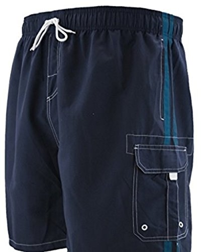 P & J Big and Tall Big Mens Swim Trunks up to Size 8X with Cargo Pockets (3X (50/52), Navy) by P & J Big and Tall