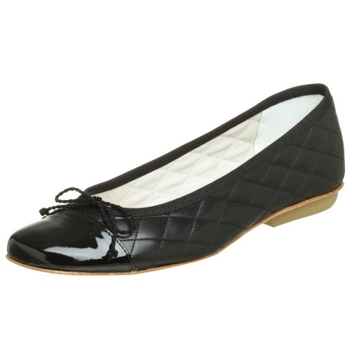 Flats Leather Sole French - French Sole FS/NY Women's Passport Ballet Flat, Black Patent/Black Leather, 5.5 M US