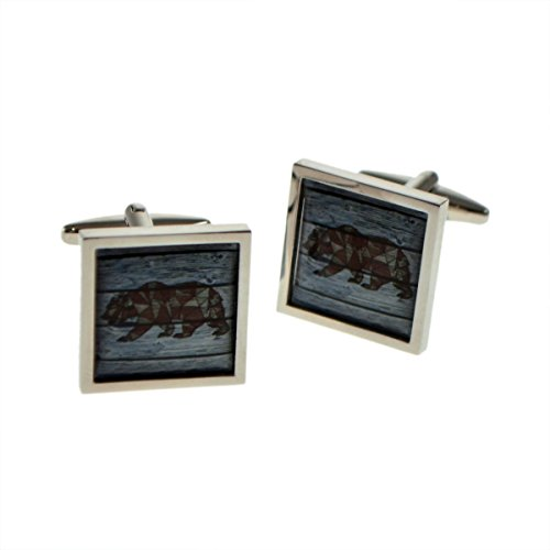 Square Cufflinks Framed - Geometric Bear On Driftwood Square Framed Cufflinks X2BOCSB078