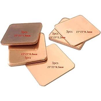 OdiySurveil(TM) 15Pack 5-Size 15x15mm IC Chipset GPU CPU Thermal Heatsink Copper Pad