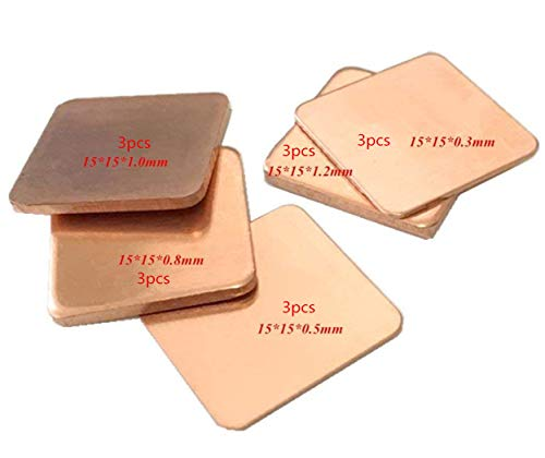 OdiySurveil(TM) 15Pack 5-Size 15x15mm IC Chipset GPU CPU Thermal Heatsink Copper Pad
