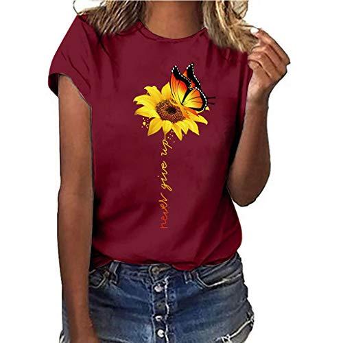 (Women T-Shirt Casual Summer Short Sleeve Tee Sunflower Print Loose Fit Blouse Tops (XL, Red))