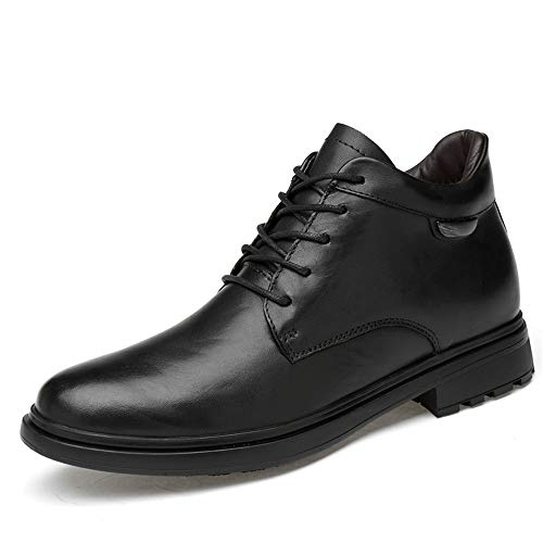 (Hilotu Clearance Fashion Men's Ankle Boots Casual Fashion end Leather High Top Round Toe Lacing Work Shoes (Cotton Warm Optional) (Color : Black, Size : 9 D(M) US) )
