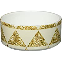Kess InHouse Nika Martinez Glitter Triangles in Gold Pet Bowl, 7-Inch, Tan/Yellow
