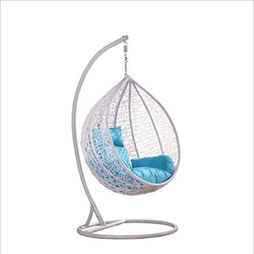 Island Gale Hanging Basket Chair Outdoor Front Porch Furniture with Stand and Cushion White Blue