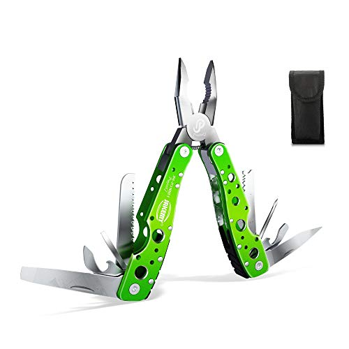 Jakemy Multitool, Portable Folding Pocket Knife 9 in 1 with Pliers, Screwdriver, Cutter, Multi Purpose Stainless Steel Survival Tool for Camping, Fishing, Hiking, Come with Pouch