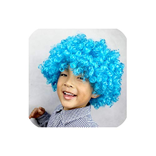 Carnival Party Wigs For Masquerade Halloween Christmas Dress Clown Costume Football Fans Children Adult Party Hats,Sky Blue]()
