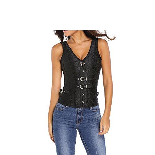 Beautface Makeup corsets Black Straps Sleeveless 12 Steel Domineering Corset Abdomen Small Waist (Origin Behind Halloween)