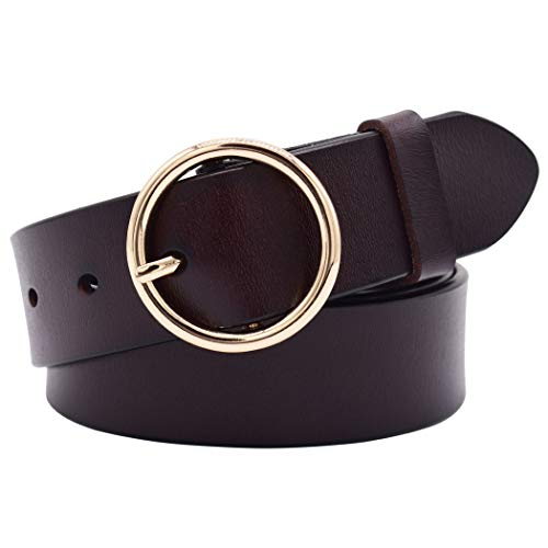 Leather Belts for Women, Vonsely Genuine Leather Womens Belts with Gold Buckle (Suit Waistline 33