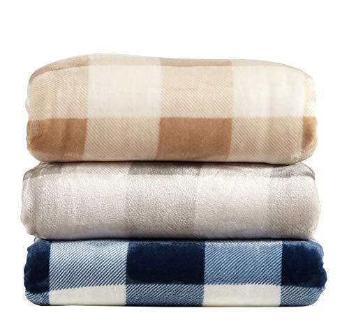 Great Bay Home Super Soft Plaid Buffalo Check Velvet Plush Bed Blanket. Flannel Fleece All Season Lightweight Blanket. (Full/Queen, Denim ()