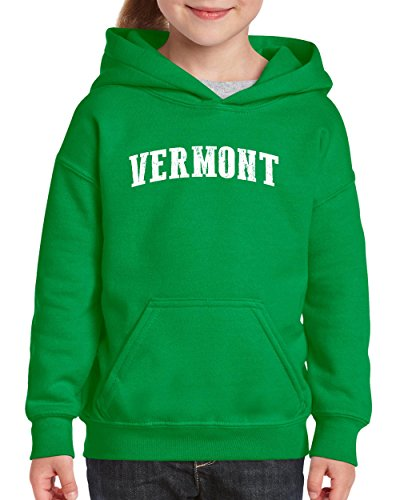 Ugo VT Vermont Flag Burlington Map Catamounts Home of University of Vermont Hoodie Girls and Boys Youth Kids (Card Kids Sweatshirt)