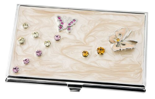Visol Products Ellie Butterfly with Crystals Embedded Women's Business Card Holder
