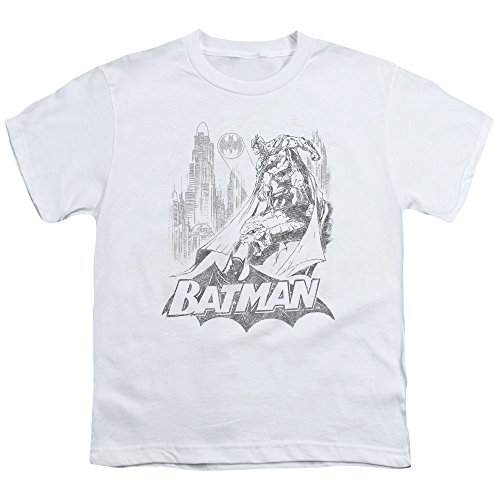 Batman Bat Sketch Unisex Youth T Shirt for Boys and Girls, Large White