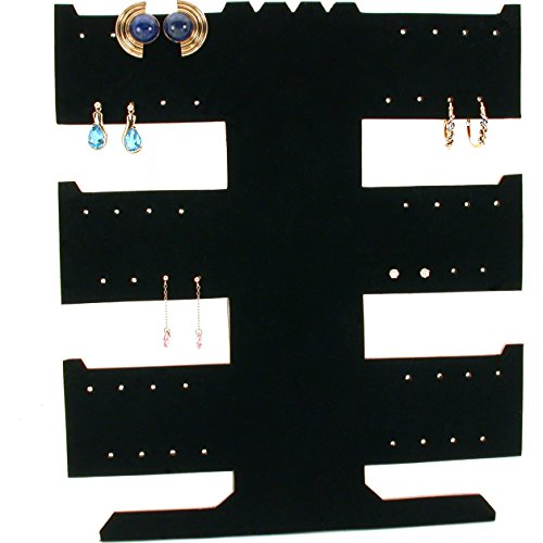 FindingKing 24 Pair Earring Necklace Bracelet T-Bar Black (Black Velvet Flocked Jewelry Display)