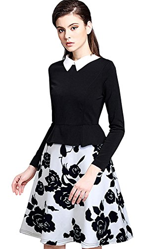 [Merope J Womens Turn Down Collar White and Black Floral Printed Dress(M,Black)] (Wednesday Addams Halloween Costumes)